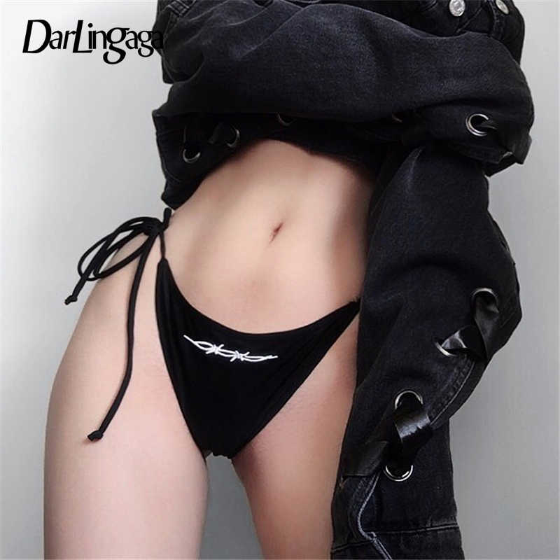 Darlingaga 2019 модное черное нижнее белье женские стринги с вышивкой сексуальные шортики, нижнее белье, трусики harajuku нижнее белье