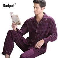 Adpat New Arrival Nightwear Navy Spring Men Pajama Sets 100 Cotton Full Sleeve Pyjamas Male Sleepwear