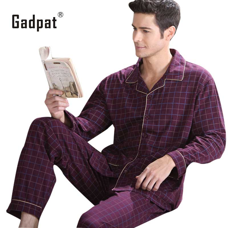 adpat New Arrival Nightwear Navy Spring Men Pajama Sets 100% Cotton Full Sleeve Pyjamas Male Sleepwear Casual Soft Homewear
