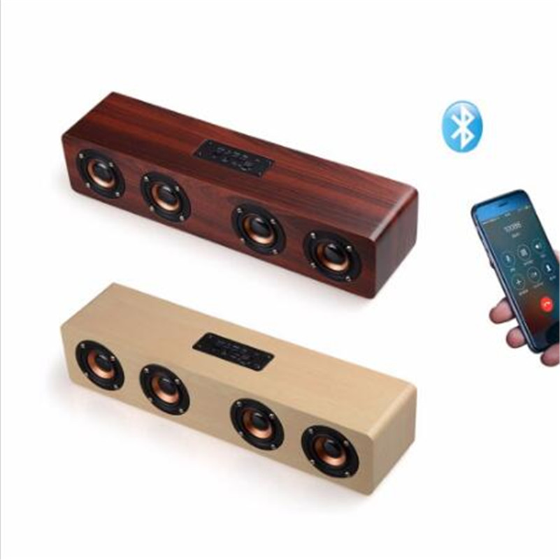 Newest W8 Bluetooth Wood SPeaker HIFI Four Loudspeakers Wireless Stereo Subwoofer Speaker TF Card AUX IN for TV Home Theatre O4 qcy qq100 max mini wireless bluetooth 3 0 speaker surround stereo hifi subwoofer tf card led flashlight 2600mah