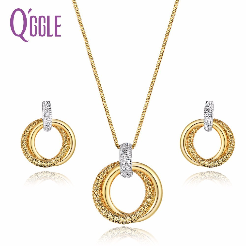 Qggle Double Circle Jewelry Sets for Women Mixed Gold & Silver Color Round Pendant Necklace Earrings Set Fashion AccessoriesQggle Double Circle Jewelry Sets for Women Mixed Gold & Silver Color Round Pendant Necklace Earrings Set Fashion Accessories