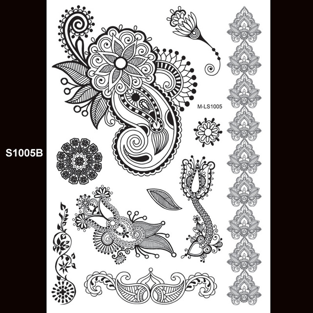 buy 1piece indian arabic designs lace flash tribal black white henna tattoo. Black Bedroom Furniture Sets. Home Design Ideas