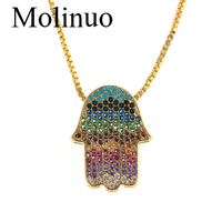 Molinuo new arrived Bohemia colorful cz paved hamsa hand Turkish evil eye design hand shape Boho fashion necklace 2019