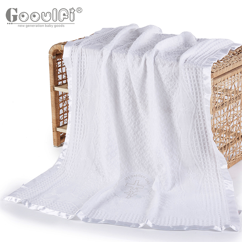 Gooulfi Baby Christening Blankets Cross Baptism 0 3 Months Solid White 100% Acrylic Blanket Unisex Blankets Newborn Swaddle