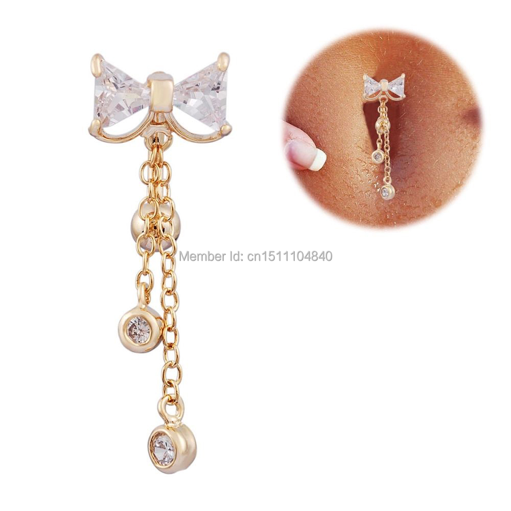 Cz Rhinestone Bowknot 14g Gold Jeweled Top Drop Dangle Reverse Belly