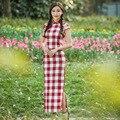 Plaid chinese traditional dress cheongsam Women Mandarin Collar chinese cheongsams qipao oriental Print Slim dresses evening