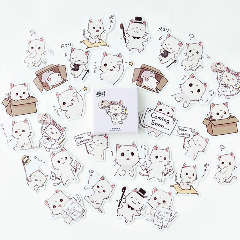 45pcs Cute Stationery Stickers Kawaii Cat Stickers Paper Adhesive Stickers For Kids DIY Scrapbooking Diary Photos Albums