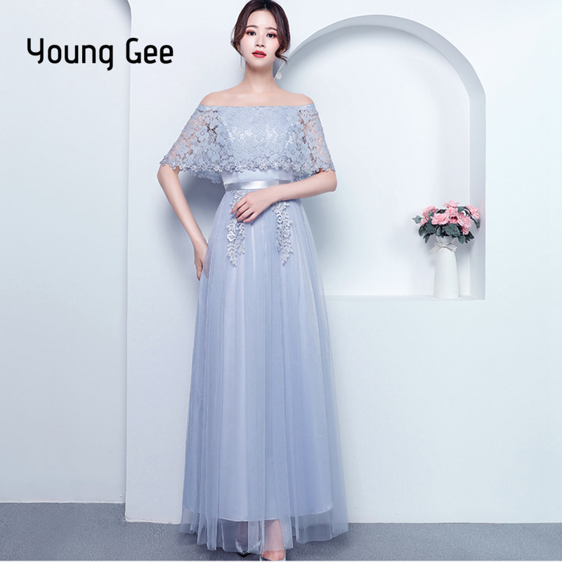 474603c944d74 US $21.02 49% OFF|Young Gee Women Slash Neck Floral Lace Mesh Dress Spring  Summer Slim Trunic Cloak Sleeves Show Party Maxi Dresses vestido longo-in  ...