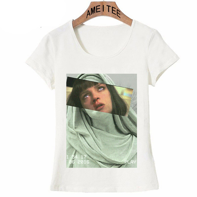 2199d9eba48 Simple Casual Style Women T-Shirt Mia Wallace Print T-shirt Funny Aesthetic  Pulp Fiction Design Girl Tops Summer Woman Tee