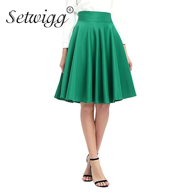 SETWIGG Jaro Dámská módní Midi bruslařské sukně Vysoký pas - Dámské oblečení