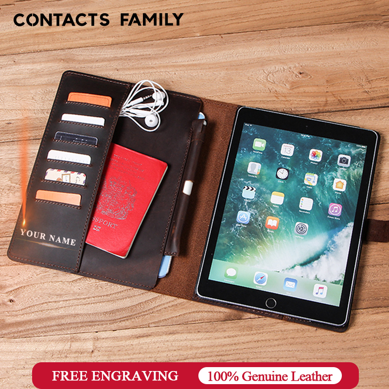 Luxury Retro Nubuck Leather Case For iPad 9.7 2018 5 6 Air 2 Pro 9.7 Cover With Card Slots Pocket Pencil Holder Flip Stand Case