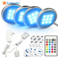 Lumiparty RGB LED RF Remote Control Dimmable Under Cabinet Light Downlight Spotlights With For Home Kitchen