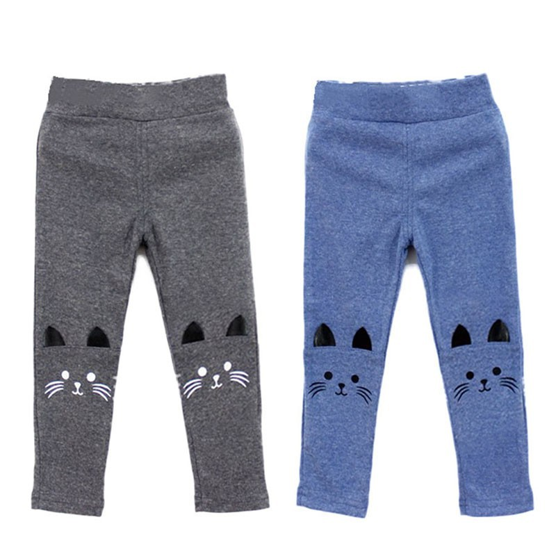 Summer Children Baby Girls Leggings Kids Skinny Cotton Pants Cute Cat Print Skinny Warm Leggings Wear Clothes Winter 3