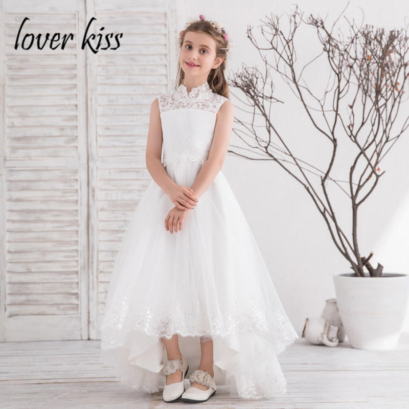 Lover kiss princess high neck white flower girl dresses for weddings lover kiss princess high neck white flower girl dresses for weddings lace prom gown high low kids pageant skirt communion dress mightylinksfo