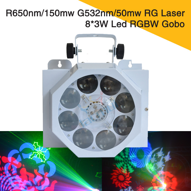 R650nm 150mw G532nm 50mw Rg Laser Diode Dpss Plus 8 3w Led Pattern Spot Light For Stage Show