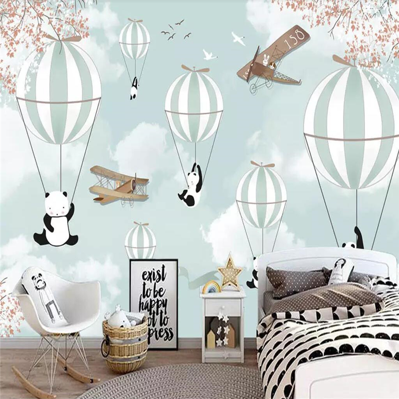 Купить с кэшбэком beibehang Wallpaper custom mural Nordic minimalist hand-painted cartoon airplane balloon children room decoration background