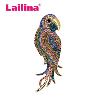 Multi Colors Crystal Rhinestone Parrot Brooch Pin Animal Fashion Jewelry Accessory Garment Accessory Gift