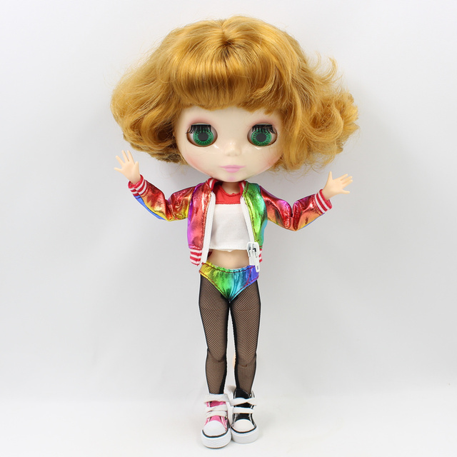 Clothes For 1/6 Blyth icy doll Colorful Coat Funny Harley Quinn suit girl gift ICY BJD toy
