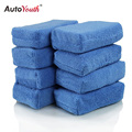 AUTOYOUTH Premium Grade Microfiber Applicators Sponges, Cloths, Blue (Pack of 8) 12*8*4cm Car Care Microfibre Wax Polishing