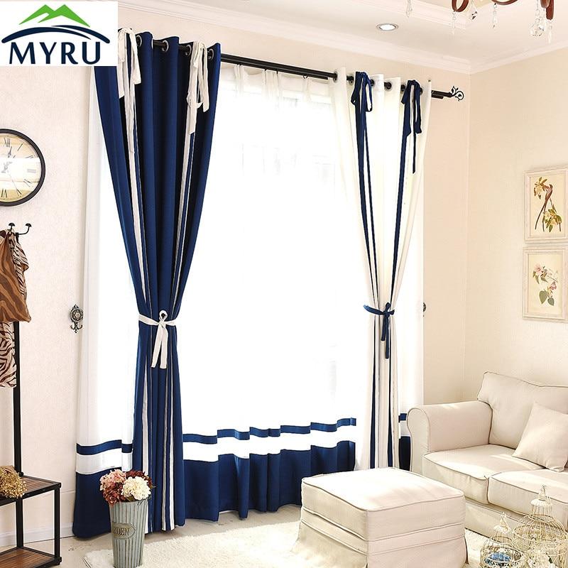ᗛMyru estilo mediterráneo azul y blanco rayas cortinas semi