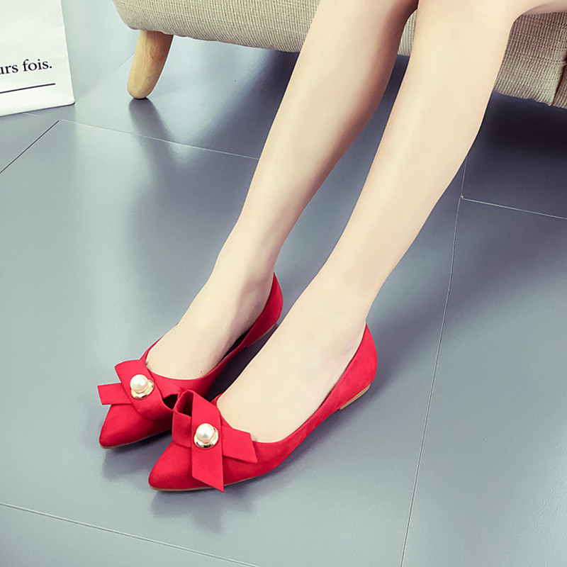 2017 Spring Fashion Flat Shoes SSuede Shallow Mouth Wild Comfortable Women Shoes Normal Size 35-40 Chaussure Femme Zapatos Mujer 2017 the new european american fashion horn bow pointed mouth shallow comfortable flat sheet metal red shoes tide size 35 41
