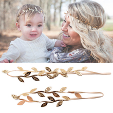 10sets/lot Mommy and Me headbabd set Gold Silver Leaf Headband Hair accessories Girl Cute Leaves hairband td97
