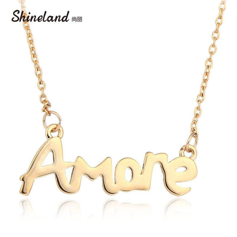 c6adcce7f735 Shineland caliente vestido de fiesta de las mujeres joyería romántica  exquisito oro de color polaco carta Amore colgante y collar amor regalos