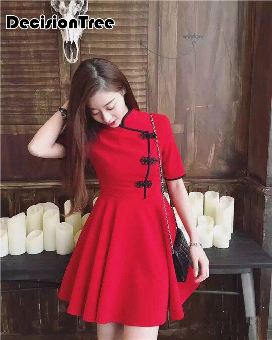 2019 Design Traditional Chinese Dress Satin Charming Cheongsam Japanese Harajuku Vintage Gothic Lolita Cheongsam Dress