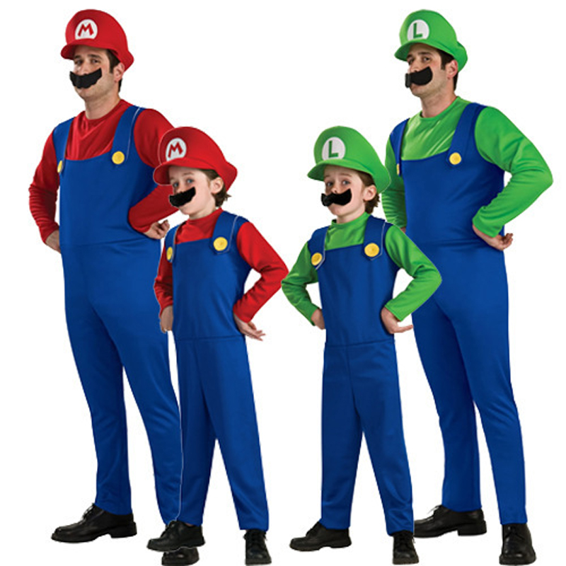 Super Mario Luigi Brothers Plumber Children Adult Cosplay Costume Party Fancy Dress Halloween Christmas Family Clothing XXL
