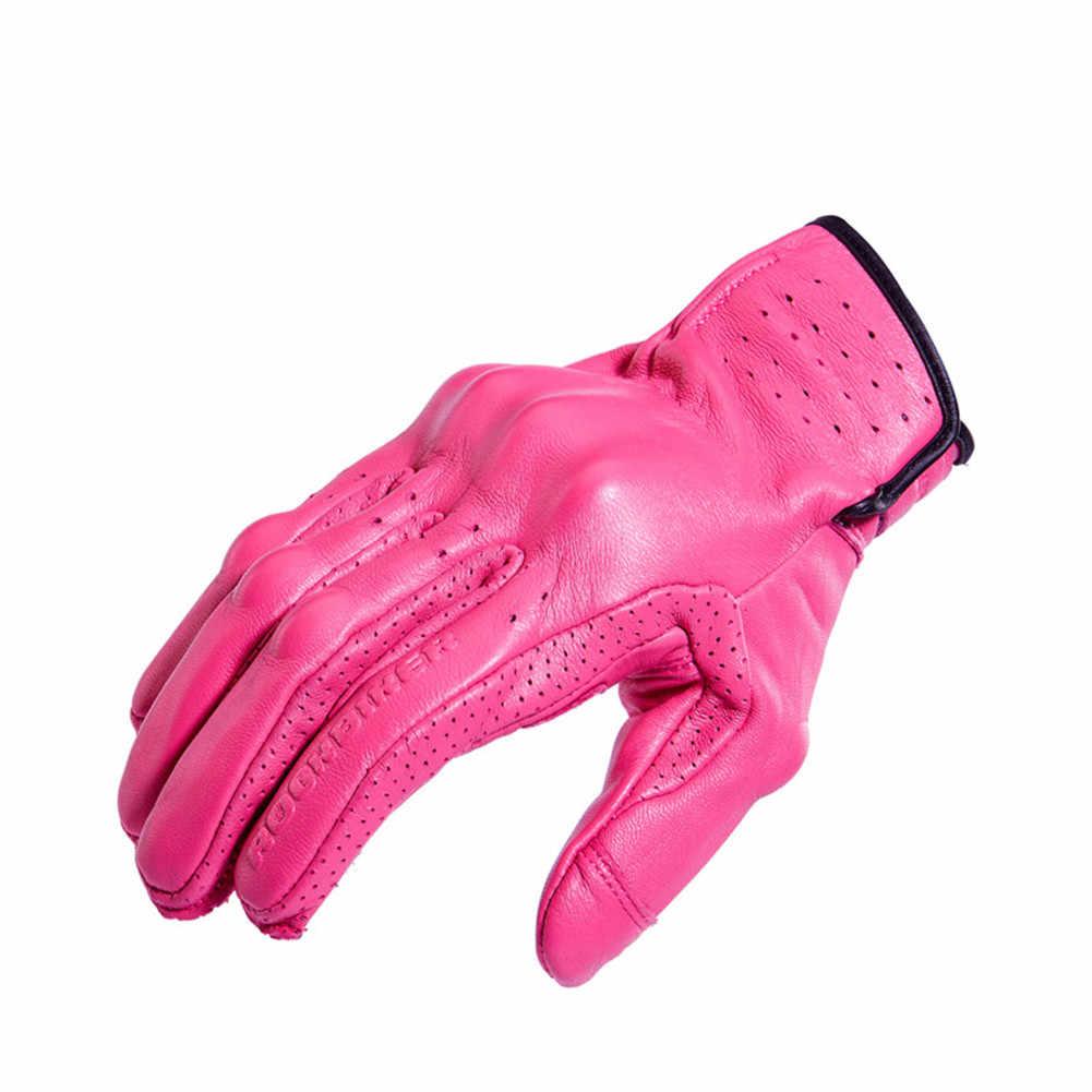 · ロックバイカー女性ピンク革のオートバイの手袋フルフィンガー屋外スポーツサイクリングモトクロス手袋レディース Guantes デモト