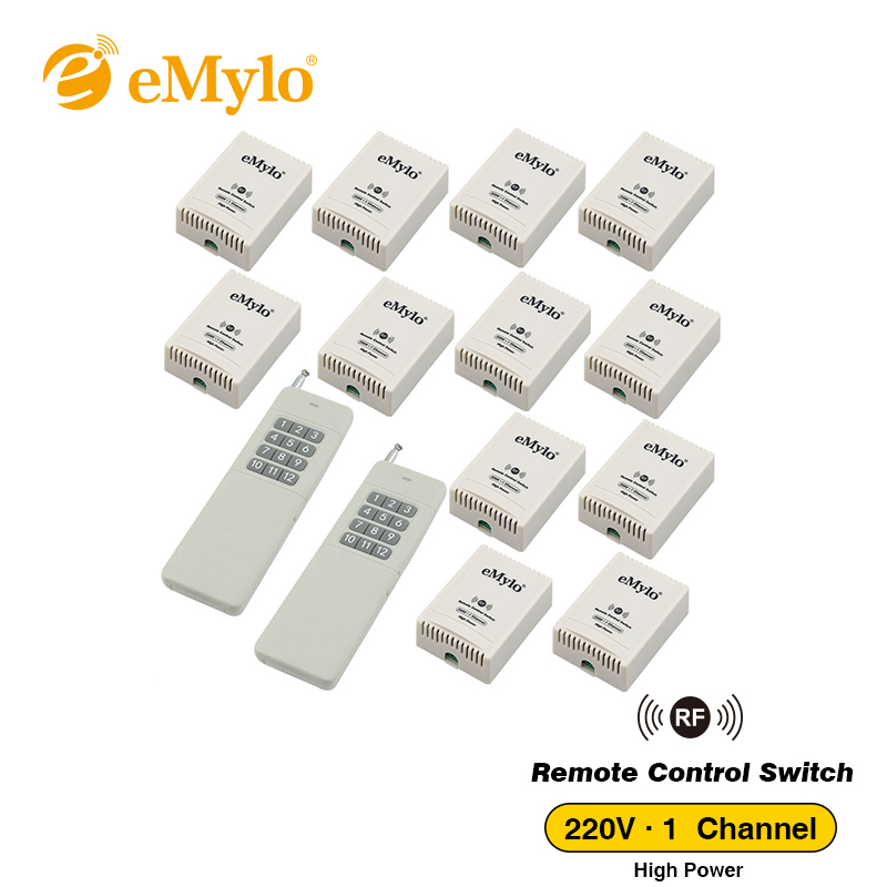 eMylo AC 220V-230V-240V 3000W 30A RF Smart Wireless Remote Control Light Lamp Switch 433Mhz 2XTransmitter & 12X 1 Channel Relay цена