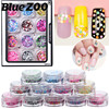 12pcs Set Mix Colors Dot Shapes Round Glitter For Nail Art Charms 1mm 2mm 3mm Sequins
