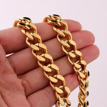 Hip Hop Men's 11/13/15mm Thick Gold Neck Chains For Men Stainless Steel Heavy Miami Curb Cuban Link Chain Necklaces Mens Jewelry high quality 21mm 60 cm super heavy thick mens flat curb cuban chain necklaces tone stainless steel hip hop gold silver necklace
