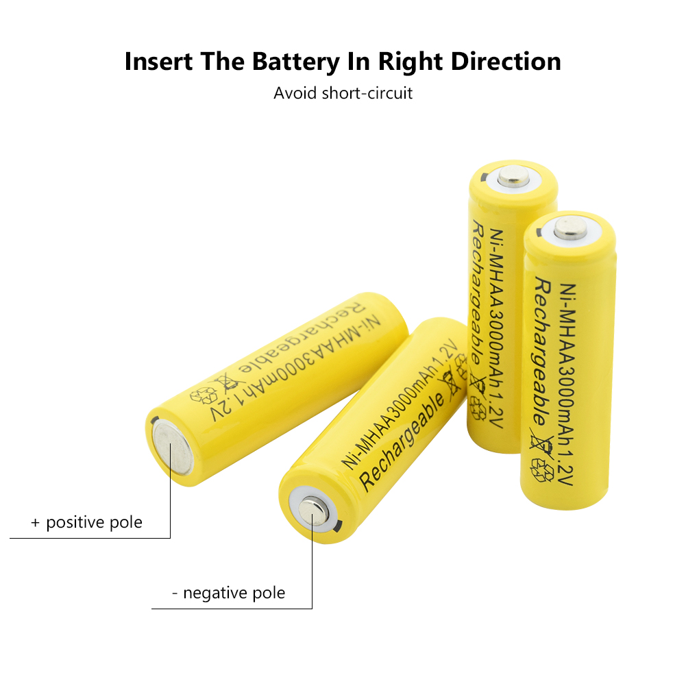 High Performance Ni-mh Aa Battery 1.2v 3000mah Rechargeable Li-ion Cell 20pcs For Laser Pen Led Flash Light Cell Battery Holder Power Source