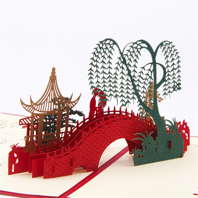 3D Landscape Paper Cards Postcards Stereo Pop Up Cards Bridge Willow life Chinese Gift for Greeting Invitations Travel Gift BA postcard christmas gift post card postcards chinese famous cities beautiful landscape greeting cards ansichtkaarten ningbo