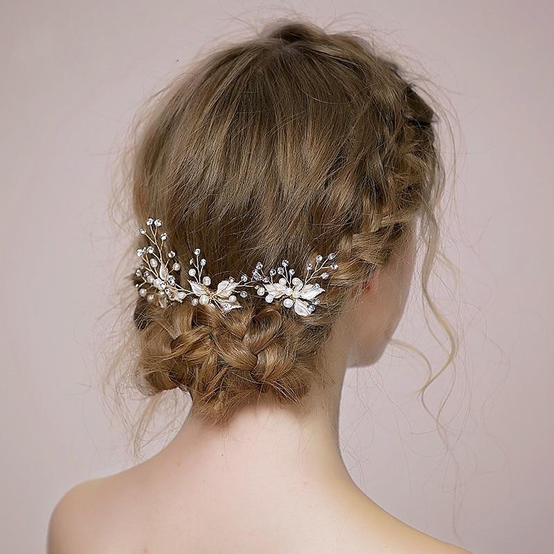 Handmade Leaf Silver Bridal Accessories Hair Pins 3 Pieces