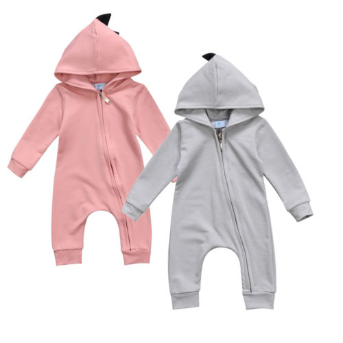 Casual Newborn Infant Baby Boy Girl Clothes Dinosaur Long Sleeve Zipper Hooded   Romper   Jumpsuit One-piece Cotton Outfits Clothes