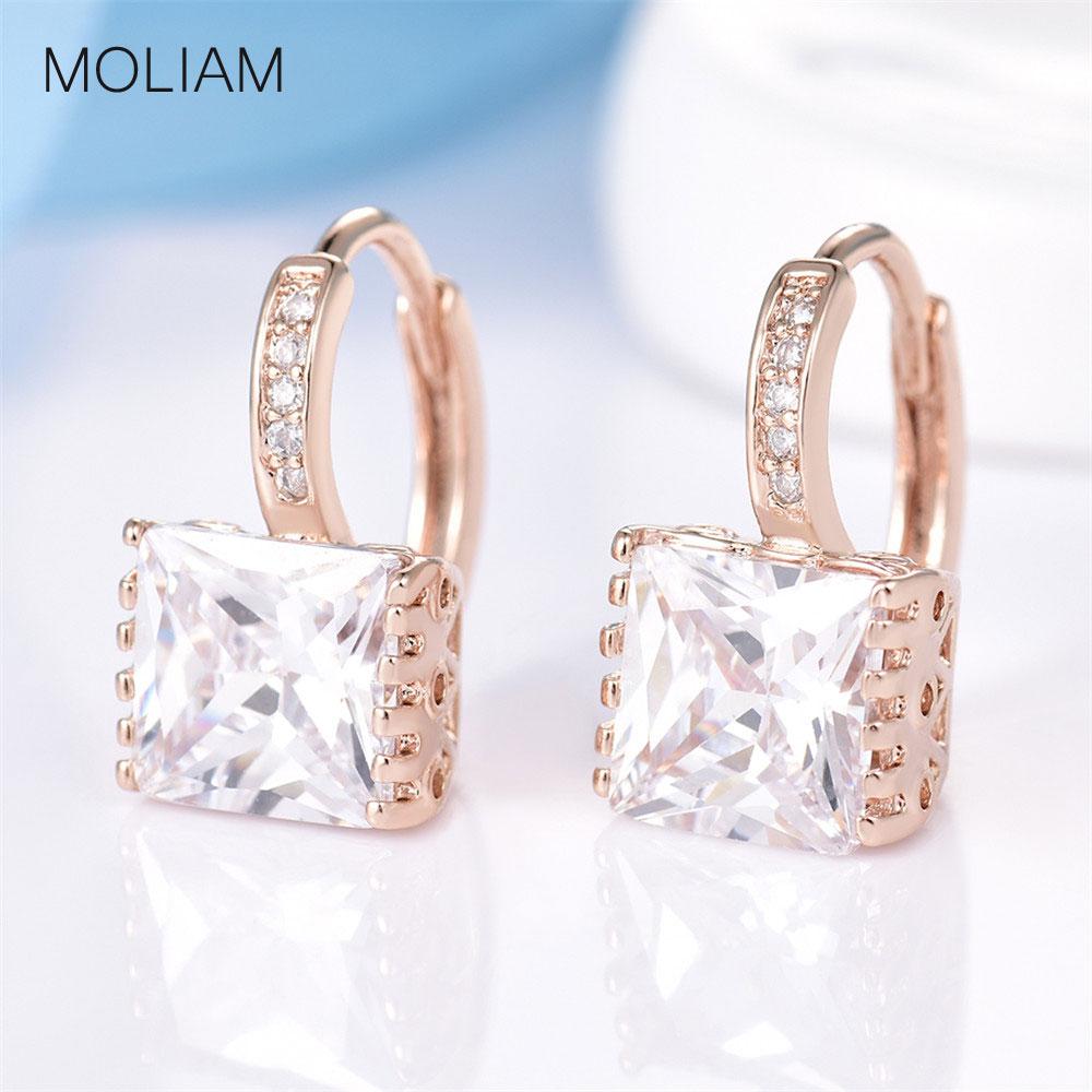 MOLIAM ապրանքանիշի զարդերի Ականջօղեր կանանց համար: New Shiny Rhinestone Hoop Earing Ladies Wedding Jewellery Brinco 2016 MLE302