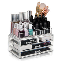 4 Drawer Cosmetic Organiser Acrylic Display Tray Jewelry Makeup Organizer Storage Box Lipstick Cosmetic Make Up Organizers