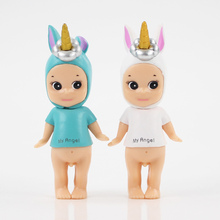 9cm Sonny Angel blue and white 2styles cute action figure model toy kawaii Sonny Angel cos Unicorn figure model collection gift