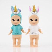 Modelo de figura de acción de 9cm, juguete kawaii de 9cm, con 2 estilos en azul y blanco, de unicornio, regalo de colección