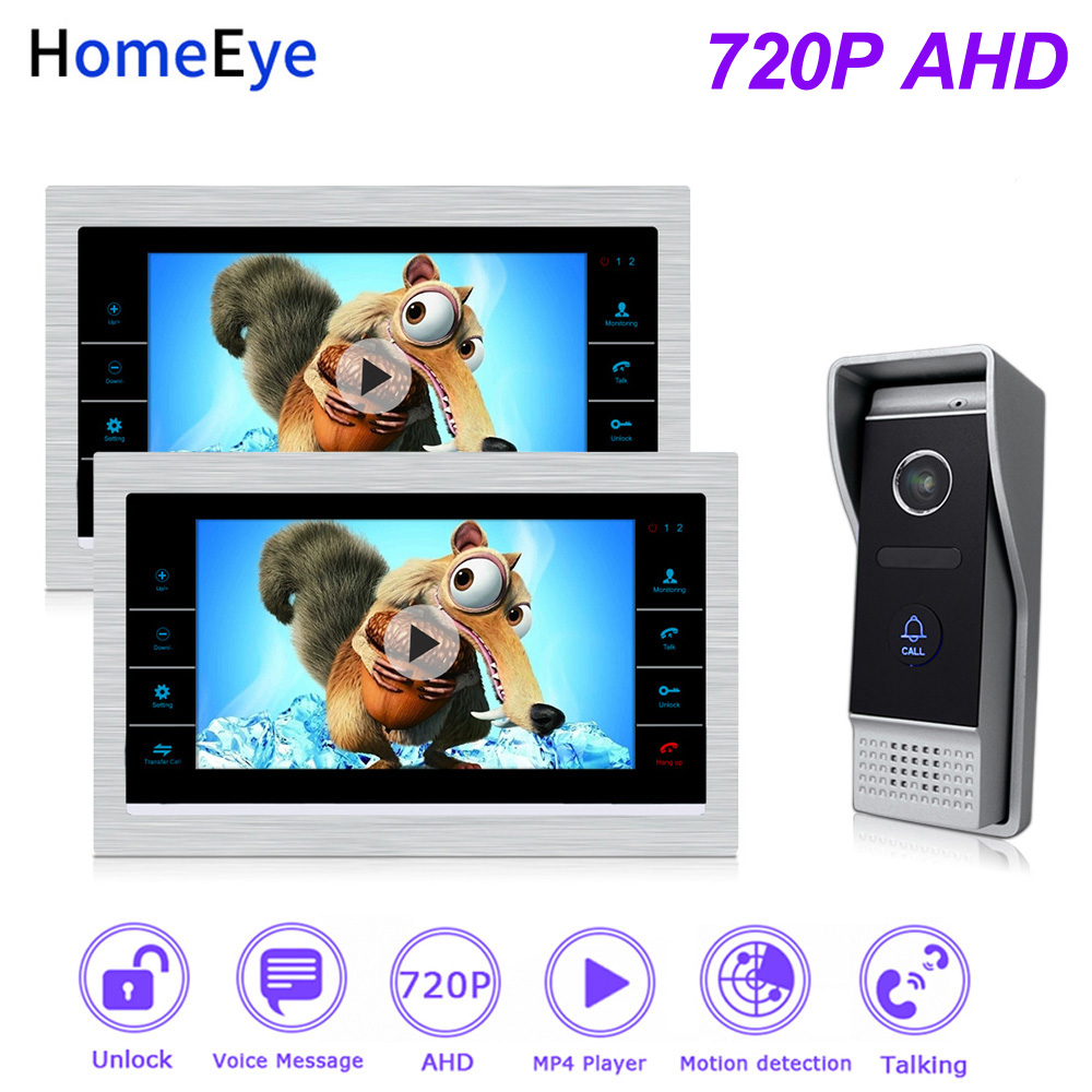 HomeEye 720P 7'' AHD Video Door Phone Video Intercom Home Access Control System Motion Detection OSD Voice Message Video Record