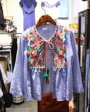 Ethnic Tassels Embroidery Women Fall Shirt Floral Flower Print Strip shirt New Fashion Cardigan Top Blouse T469