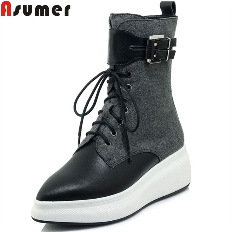 ASUMER 2018 fashion ankle boots for women pointed toe zip genuine leather boots zip lace up flat platform autumn winter boots zip