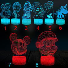 Girl Gift 3D Lamp LED Cartoon Night Light Mermaid Mickey Elsa Mario Bedroom Decor Multicolor Birthday Kid Toy Table Lava Crack hot sale cartoon figure 3d elsa anna bulb night light led lamp colorful atmosphere gadget decor bedroom baby girl kid gifts rc