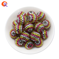 R127 Free Shipping 20MM 100Pcs/Lot White Mei Red Yellow Stripe Resin Rhinestone Beads For Colorful Necklace Jewelry Making