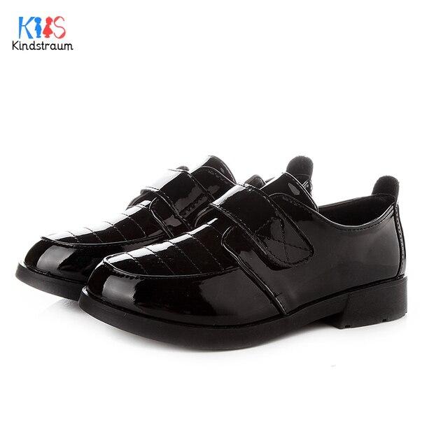 Kindstraum new boys & girls prom preto/branco de couro pu shoes casual gancho loop de borracha inferior mostrar partido shoes para crianças, EJ026