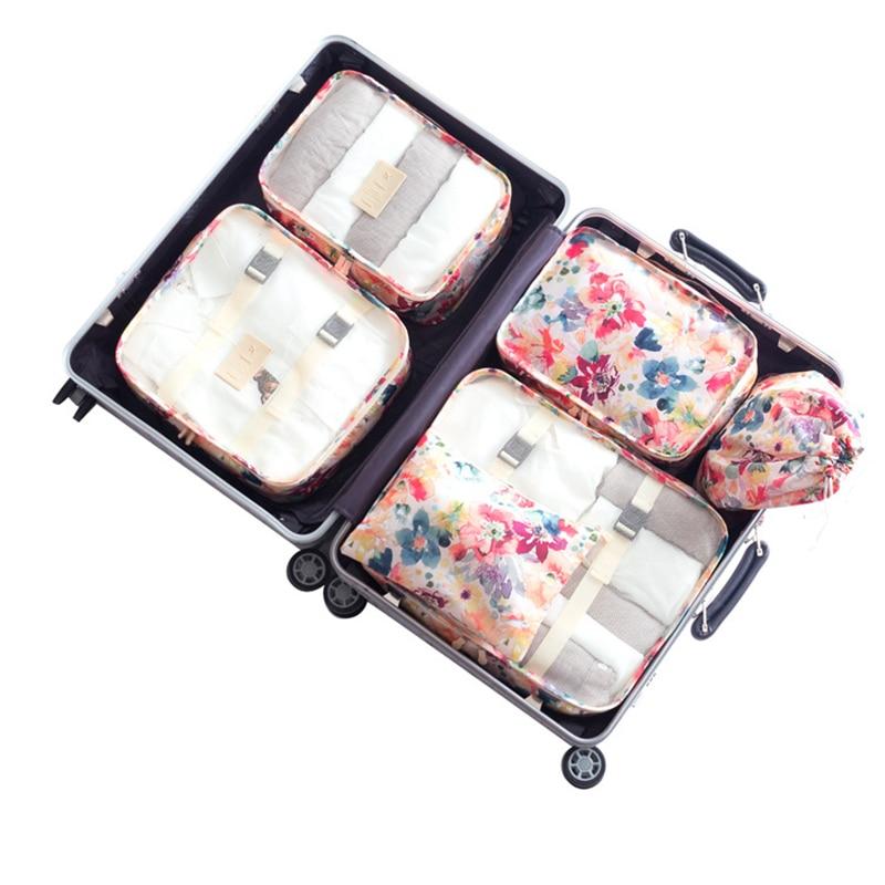 Travel Luggage Storage Bags Packing Cubes Bag 6pcs/set Men/women Cosmetic Shoe Underwear Suitcase Classification Organizer Case