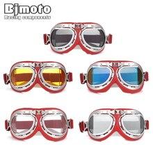 BJMOTO Off Road Vintage Motorcycle Goggles Pilot Motorbike Glasses Retro Jet Helmet Eyewear Motocross  Goggle Eyeglasses