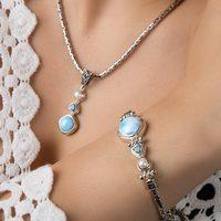 Handmade Unique 925 Sterling Silver Pendant, Beautiful Natural Blue Caribbean Larimar& Pearl Pendant for Women Ladies Girls